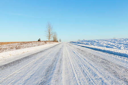 cold: snow-covered rural road built through fields. a few trees grow on the roadside. winter landscape Stock Photo