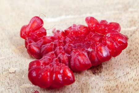 Red ripe raspberries