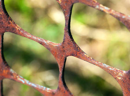wire fence: Rusty metal fence