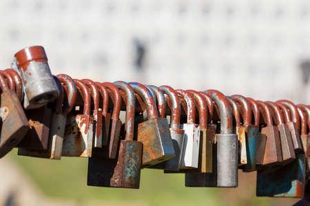 Wedding locks of love Stock Photo