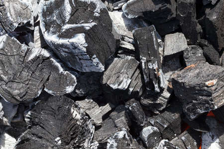 extinct black charcoal in a fire, close-up photo Stok Fotoğraf