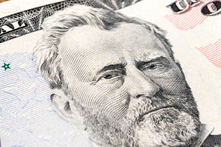 portrait of the president of the grant on a banknote of fifty dollars, close-up, focus on the eye