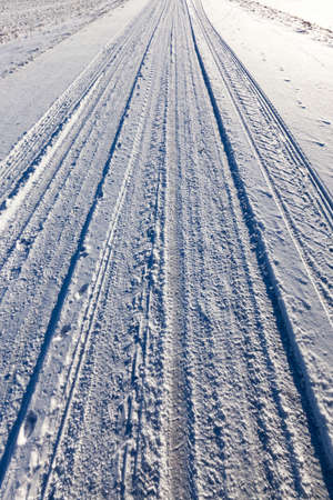 snow-covered road in the winter season, Close-up photo