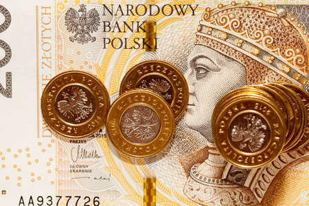close-up photo of a Polish bill of two hundred z . On the banknote depicts King Sigismund I Old - side obverse. On the banknote lie golden zloty