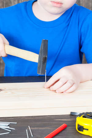 a small boy is building a wooden birdhouse, hammering nails into the board Stockfoto