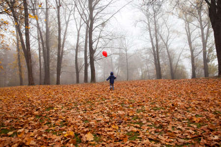 A boy walking with a red balloon in the fall, gloomy weather in the park with a bright balloon.
