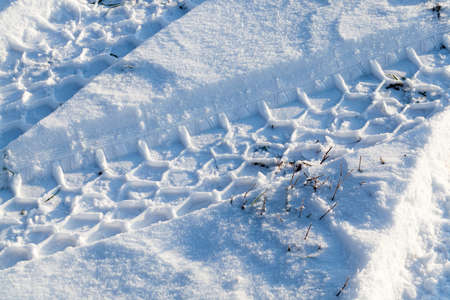 snow photographed in the winter season, which appeared after a snowfall. close-up, 스톡 콘텐츠 - 124342111