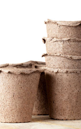 Piled together from peat and paper pots for growing seedlings in agriculture Reklamní fotografie