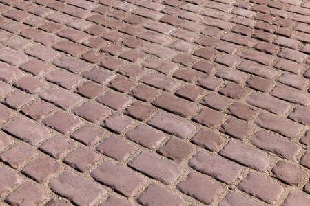 Carretera para peatones de baldosas de adoquines en la parte vieja, Europa Foto de archivo