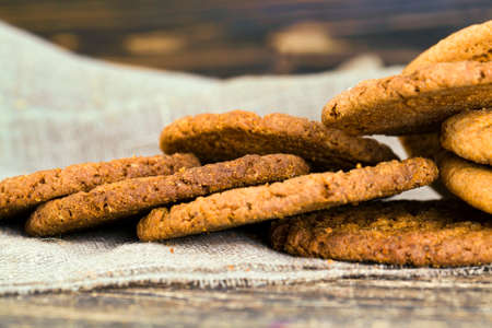 Real Round oatmeal cookies made in the kitchen without adding any additives, close-up food. Stock fotó