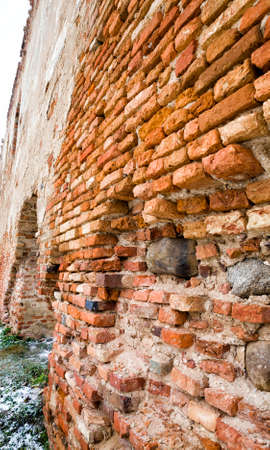 old brickwork of different bricks, is part of the building 写真素材