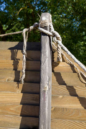 tied together rope in wooden structures for play and recreation for children, close up