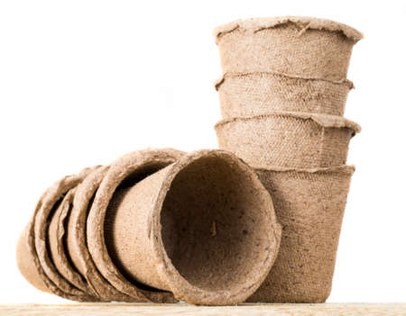 pots for seedlings are made from biodegradable materials, paper and peat