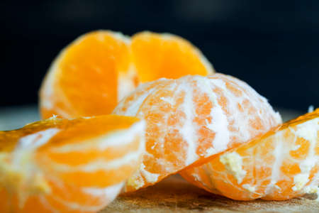 juicy fresh slices of ripe and sweet oranges on the table