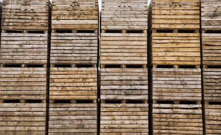 folded empty wooden boxes in warehouses, boxes are designed for harvesting fruits and vegetables 写真素材