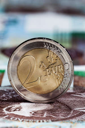 genuine two Euro coin close-up, coins from Lithuania in the European Union