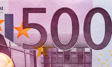 obverse of European Euro cash, face value of five hundred Euro banknotes