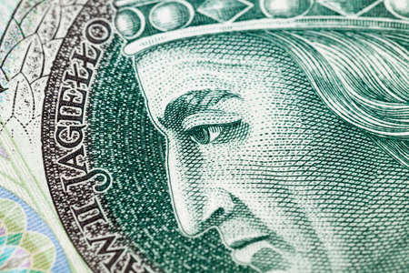 new bill worth one hundred Polish zlotys, close-up of cash Polish money