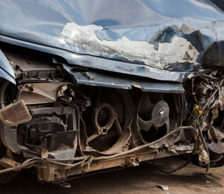 the front part of the car involved in a major accident, as a result of the accident, the car was damaged