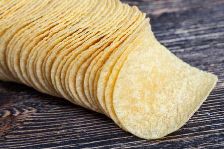 real potato chips ready to eat, close up of unhealthy foods Banco de Imagens