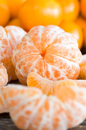 juicy fresh slices of fresh ripe and sweet oranges on the table, close-up of citrus fruits Stock Photo