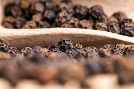 black fragrant pepper with a wooden spoon, cooking with hot spices