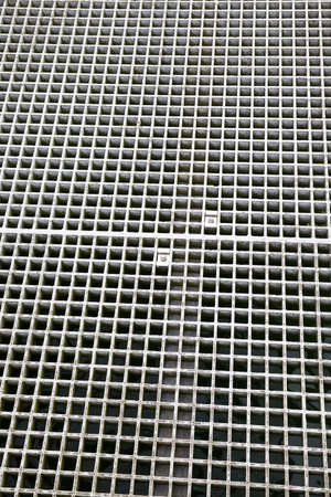metal grating for the movement of people on the territory of the pier on the sea or lake Banco de Imagens