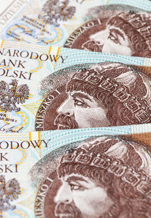 different Polish money in cash, close-up of the national currency of Poland, zlotys of different denominations