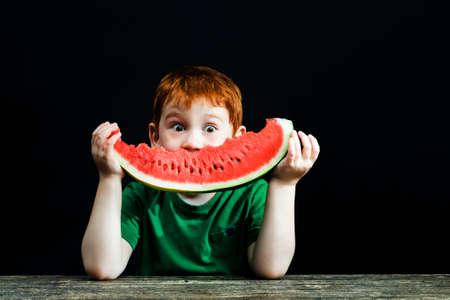 bitten red sweet watermelon