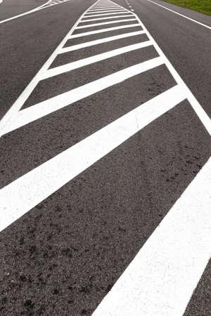 white road markings drawn