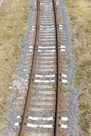 the railway goes on the ground 版權商用圖片