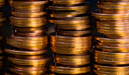 copper small coins close-up, coin stacked together in piles used for calculations in the state 스톡 콘텐츠