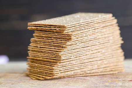 rye crackers are thin and baked 스톡 콘텐츠