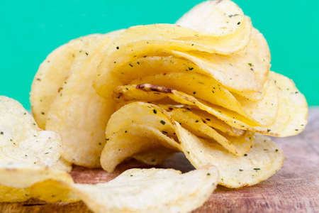 potato chips with salt and spices added to enhance the taste