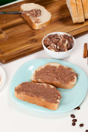 natural chocolate paste with cocoa during breakfast 스톡 콘텐츠