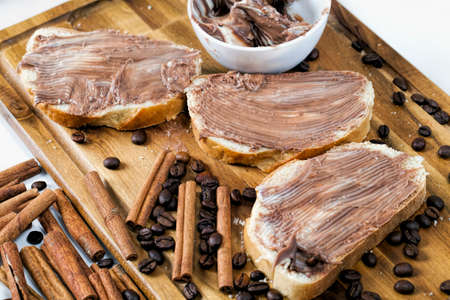 delicious chocolate butter and white bread