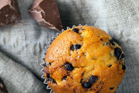 wheat cupcake with chocolate filling 스톡 콘텐츠