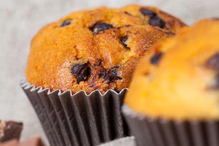 close-up of chocolate cupcake