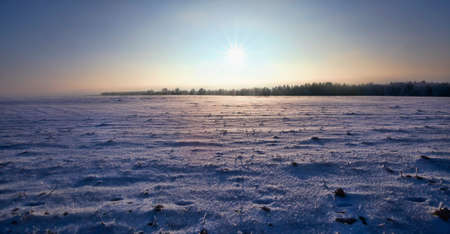 uneven wavy snow, lit by sunlight on a large surface of an agricultural field