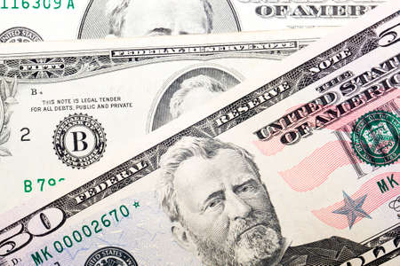 fifty dollar bill paper note, close-up of real american currency of different years of issue