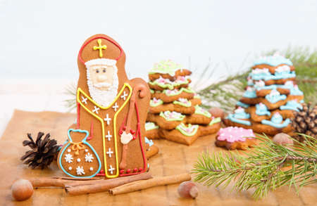 st nicholas: Cookie St. Nicholas. Christmas trees Cookies. Spiced shortcrust biscuit, traditionally baked before St Nicholas feast in the Ukraine, Netherlands, Belgium and France and around Christmas in Germany. Stock Photo