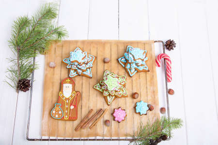 speculaas: Cookie St. Nicholas. Christmas trees Cookies. Spiced shortcrust biscuit, traditionally baked before St Nicholas feast in the Ukraine, Netherlands, Belgium and France and around Christmas in Germany. Stock Photo
