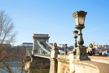 the chain bridge: Attractions Budapest. Famous The Szechenyi Chain Bridge in afternoon. One of most representative landmarks of beautiful Hungarian capital city.
