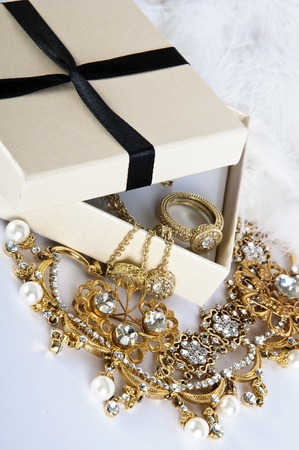 Casket with Jewelry on a white background