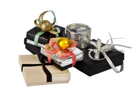 Many gift boxes izoletad on white