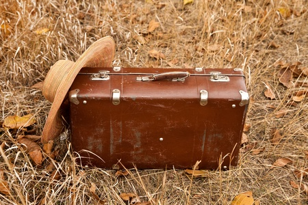 Travel brown suitcase and hat