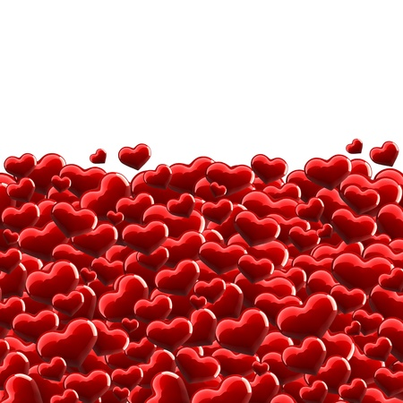 Many red hearts on white background