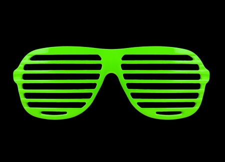 Retro green shades sunglasses isolated on white background photo