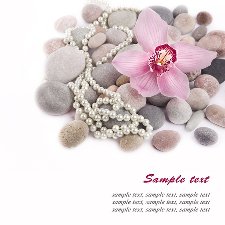 Orchid flower, Spa Stones and pearls over white