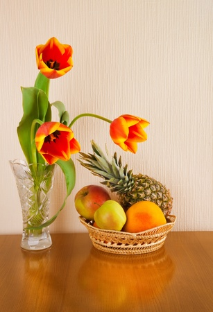 red tulips and fruits